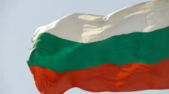 Bulgaria flag flutters in wind. Stock Footage
