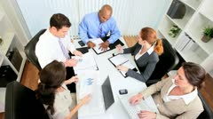 Business Executives Finance Meeting - Overhead View - stock footage