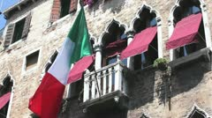 Italian flag in venice balcony Stock Footage