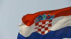 Croatia flag is fluttering in wind. Stock Footage