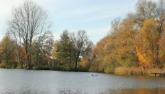 Lake during fall Stock Footage