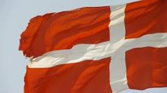 Denmark flag is fluttering in wind. Stock Footage
