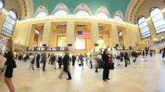 Grand Central Station New York City Time Lapse Fish Eye Stock Footage