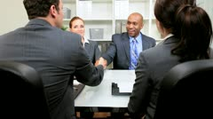 Stock Video Footage of Corporate Meeting Multi Ethnic Business Executives