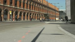 Architecture side view of St Pancras Railway Station London Stock Footage