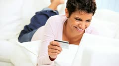 Young Ethnic Female Using Credit Card Online Shopping Stock Footage