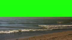 Waves rolling in on the beach - Green screen - stock footage