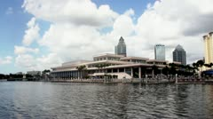 Tampa Convention Center from boat Wide Stock Footage