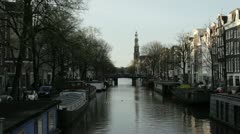 Amsterdam prinsengracht canal Stock Footage