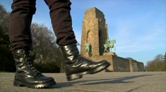 10678 nazi boots walk emperor monument wide Stock Footage