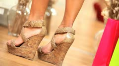 Girls Trying New Shoes Stock Footage