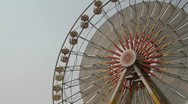 Stock Video Footage of large ferris wheel the sky background.