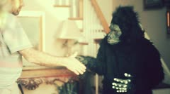 Handshake ape monkey wtf Stock Footage