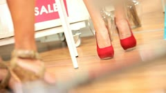 Legs Females Trying Shoes Boutique Stock Footage