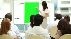 Businesswoman showing a board Stock Footage