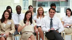 Front view of smiling business people Stock Footage