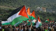 Muslim activists in anti Israel protest during commemoration of Land Day Stock Footage