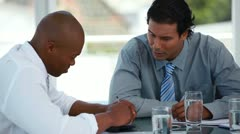 Businessman talking with different people Stock Footage