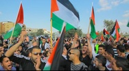 Stock Video Footage of Muslim activists in anti Israel protest during commemoration of Land Day