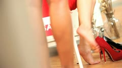 Legs Only Girls Trying New Shoes Stock Footage