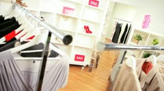 Fashionable Clothing Boutique Interior Stock Footage