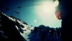 Skier mountain view - stock footage