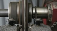 Stock Video Footage of Brake drum turning on a lathe