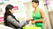 African American Female Credit Card Fashion Store Stock Footage