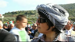Haneen Zoabi a Muslim woman elected to the Israeli Knesset Stock Footage