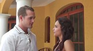 CZA-0046 COUPLE CHATS WITH SLOW PAN Stock Footage
