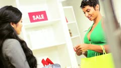 Ethnic Female Spending Fashion Outlet Stock Footage