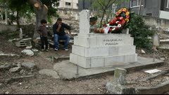 Mourning of martyrs (Shahids) of Land Day in graveyard of Sakhnin Stock Footage