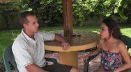 CZA-0073 COUPLE DEEP IN CONVERSATION Stock Footage