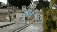 Grave of martyrs (Shahids) of Land Day in graveyard of Sakhnin Stock Footage