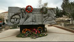 Memorial for martyrs (Shahids) of Land Day in graveyard of Sakhnin - stock footage