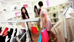 Girlfriends in Fashion Outlet Stock Footage