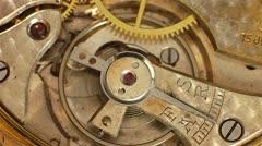 Antique pocket watch spinning balance wheel and regulator close up. - stock footage