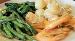 Seafoods and vegetables - stock footage