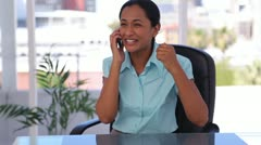 Happy well-dressed woman on the phone - stock footage