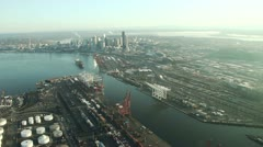 Seattle and Port on Calm, Clear Morning - Aerial Stock Footage