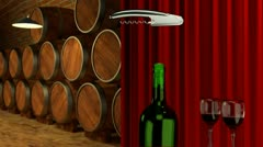 How to open a bottle of wine in the winery Stock Footage