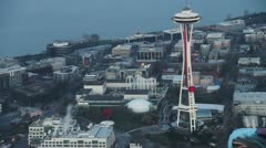 Angry Birds Space Ad on Space Needle Stock Footage