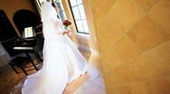 Traditional Bride in Luxury Home Music Room Stock Footage
