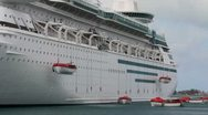 Stock Video Footage of Cruise Ship Deploying Lifeboats