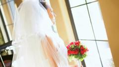 Head Shoulders Caucasian Bride Wedding Dress Veil Stock Footage