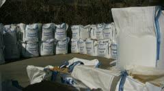 Builders merchant sand bags Stock Footage