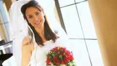 Head Shoulders Caucasian Bride in Wedding Dress Stock Footage