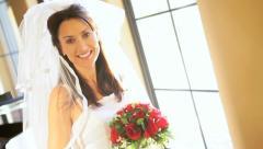 Beautiful Bride in Wedding Dress Home Stock Footage
