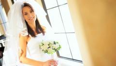 Caucasian Bride Posing Wedding Photographs - stock footage