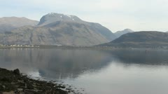 Ben Nevis reflected in Loch Linnhe Corpach Scotland Stock Footage